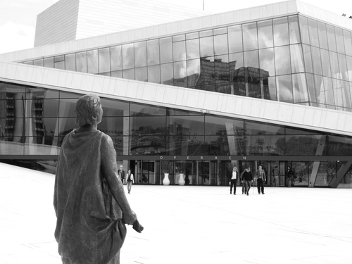 The entrance to Oslo Opera House