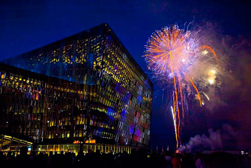 Harpa with Culture Night closing fireworks. Image - http://www.austurhofn.is
